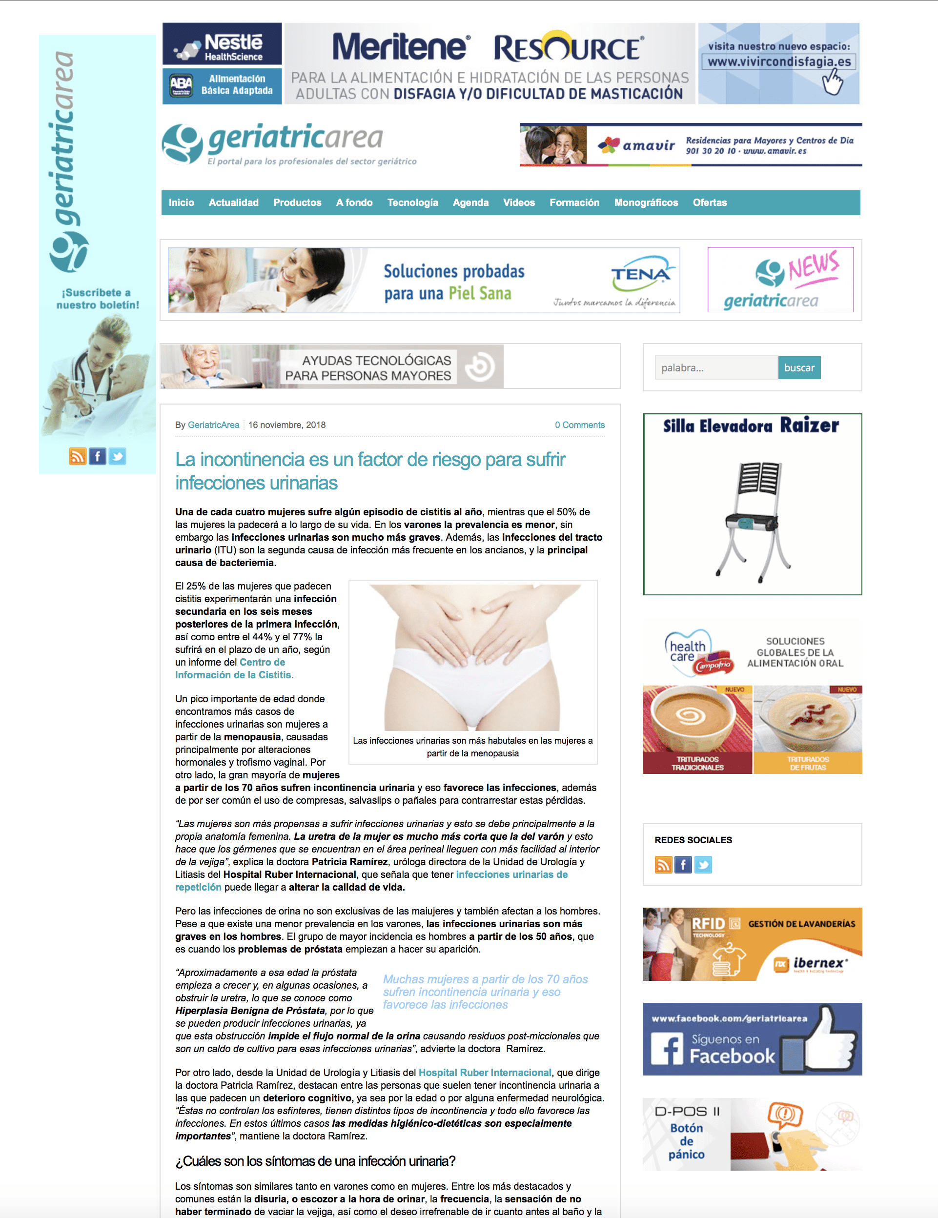 Geriatricarea, pantalla con noticia urológica